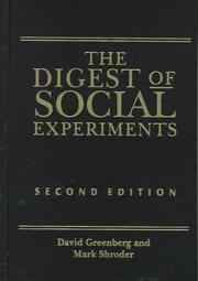 Cover of: Digest of social experiments | David H. Greenberg