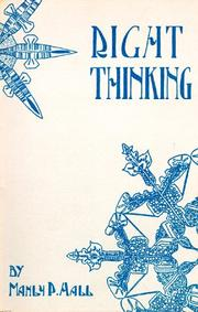 Cover of: Right thinking | Manly Palmer Hall