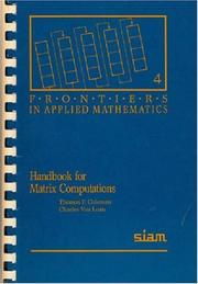 Cover of: Handbook for matrix computations by Thomas F. Coleman