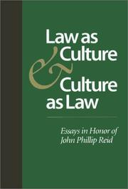 Cover of: Law as Culture and Culture as Law by Hendrik Hartog