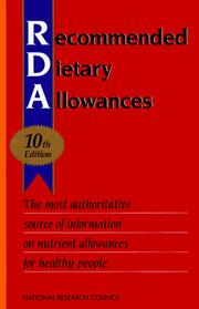 Cover of: Recommended dietary allowances | National Research Council (U.S.). Subcommittee on the Tenth Edition of the RDAs.