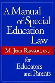 Cover of: A Manual of Special Education Law for Educators and Parents by M. Jean Rawson