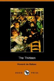 Cover of: The Thirteen | Honoré de Balzac