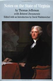 Cover of: Notes on the state of Virginia | Thomas Jefferson