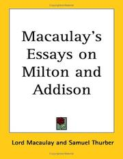 Cover of: Macaulay's Essays on Milton And Addison | Thomas Babington Macaulay