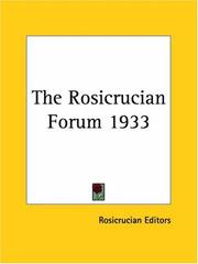 Cover of: The Rosicrucian Forum 1933 | Rosicrucian