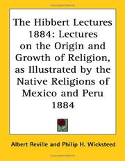 Cover of: The Hibbert Lectures 1884 | Albert Reville