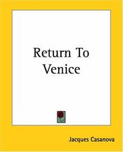 Cover of: Return To Venice | Jacques Casanova