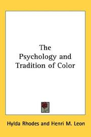 Cover of: The Psychology and Tradition of Color | Hylda Rhodes