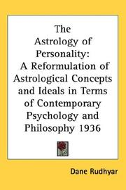Cover of: The Astrology of Personality | Dane Rudhyar