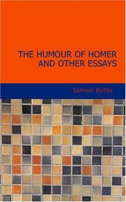 Cover of: The Humour of Homer and Other Essays | Samuel Butler