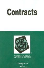 Cover of: Contracts in a Nutshell (In a Nutshell (West Publishing)) | Anthony M. Skrocki