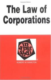 Cover of: The Law of Corporations by Robert W. Hamilton