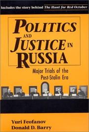 Cover of: Politics and justice in Russia by I͡Uriĭ Vasilʹevich Feofanov