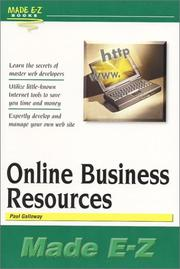 Cover of: Online Business Resources Made E-Z (Made E-Z Guides) (Made E-Z Guides) by Paul Galloway