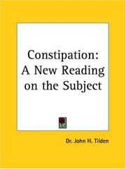 Cover of: Constipation | J. H. Tilden