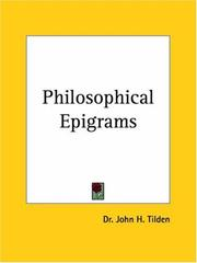 Cover of: Philosophical Epigrams | J. H. Tilden