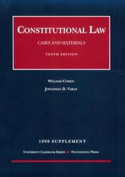 Cover of: 1999 Supplement: Constitutional Law by William Cohen
