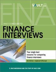 Cover of: Vault.com Guide to Finance Interviews | D. Bhatawedekhar