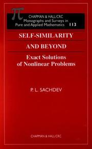 Cover of: Self-Similarity and Beyond by P.L. Sachdev