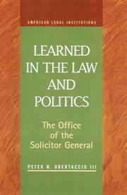 Cover of: Learned in the Law and Politics | Peter N. Ubertaccio