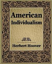 Cover of: American Individualism (1922) | Herbert Clark Hoover - President of the USA (1929-1933)