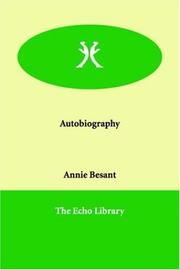 Cover of: Autobiography | Annie Wood Besant