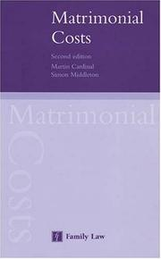 Cover of: Matrimonial Costs by M. Cardinal