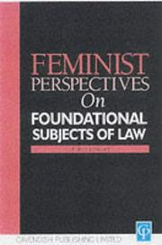 Cover of: Feminist Perspectives on the Foundational Subjects of Law (Feminist Perspectives Series) | Anne Bottomley