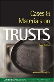Cover of: Cases and Materials on Trusts | Mohamed Ramjohn