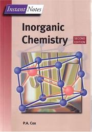 Cover of: Instant Notes in Inorganic Chemistry (The Instant Notes Chemistry Series) | Tony Cox
