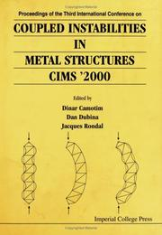 Cover of: Proceedings of the Third International Conference on Coupled Instabilities in Metal Structures | Camotim D Et Al