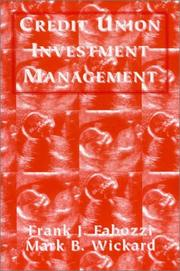 Cover of: Credit Union Investment Management | Frank J. Fabozzi