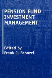 Cover of: Pension Fund Investment Management by Frank J. Fabozzi