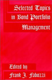 Cover of: Selected Topics in Bond Portfolio Management | Frank J. Fabozzi