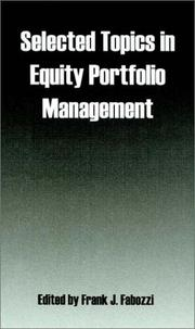 Cover of: Selected Topics in Equity Portfolio Management | Frank J. Fabozzi