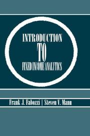 Cover of: Introduction to Fixed Income Analytics | Frank J. Fabozzi