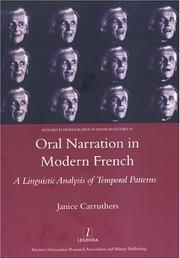 Cover of: Oral Narration in Modern French by Janice Carruthers