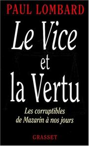 Cover of: Le vice et la vertu by Lombard, Paul