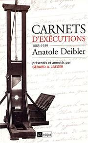 Cover of: Carnets d'exécutions by Anatole Deibler