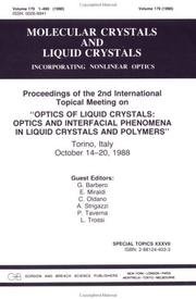 Cover of: Optics of Liquid Crystals Optics and Interfacial Phenomena in Liquid Crystals and Polymers | G. Barbero