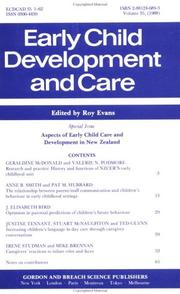 Cover of: Aspects of Early Child Care Development in New Zealand | R. Evans