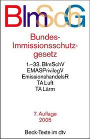 Cover of: Bundes-Immissionsschutzgesetz | Germany