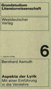 Cover of: Aspekte der Lyrik | Bernhard Asmuth