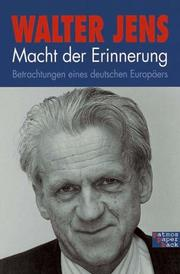 Cover of: Macht der Erinnerung by Walter Jens