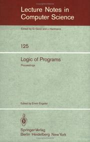 Cover of: Logic of Programs | E. Engeler