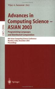Cover of: Advances in Computing Science - ASIAN 2003, Programming Languages and Distributed Computation | Vijay A. Saraswat