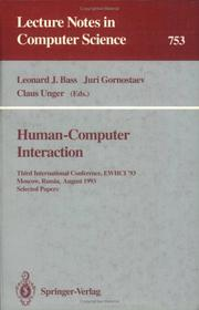 Cover of: Human-computer interaction | International Conference on Human-Computer Interaction (1991-  ) (3rd 1993 Moscow, Russia)