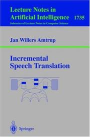 Cover of: Incremental Speech Translation | Jan W. Amtrup