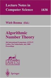 Cover of: Algorithmic Number Theory | Wieb Bosma